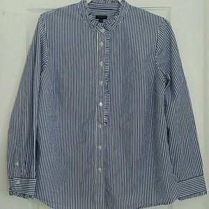 Talbots Ruffled Blue/White striped shirt